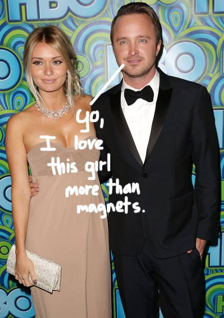 Aaron Paul and wife Lauren Parsekian. Image from http://perezhilton.com/2013-09-26-aaron-paul-marriage-is-easy-wife-lauren-parsekian-four-months-strong-breaking-bad-emmys#.VHkFP4uR_zI